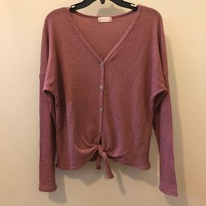 Altard State Women's Rose Button Down Knot Sweater
